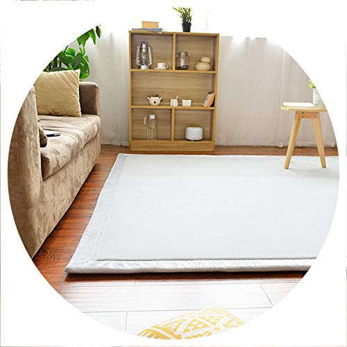 world-palm Home Carpet Coral Fleece Rug 2CM Thickness Tatami Carpet 180X200CM Living Room Rug Bedroom Mat Baby Play Mat,White,100X200CM 39X78IN