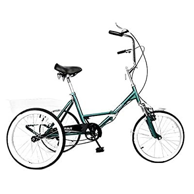 Viribus Adult Folding Tricycle 20 inch Single Speed High Carbon Steel Front Suspension Fork with Foldable Shopping Basket for Camping and Recreation Exercise 3-Wheel Bike for Men and Women (Green)