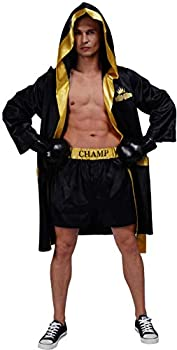 Adult Men Boxing Costume Heavyweight World Champion Boxer Includes Robe and Shorts  Black