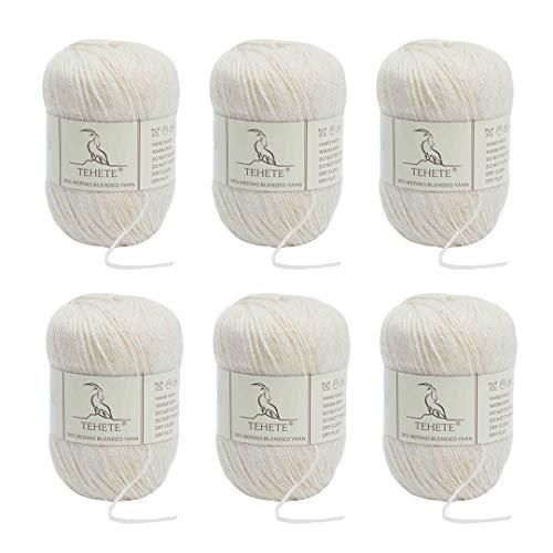 TEHETE Ovillo de lana, Hilados lana merino,6 Bolas x 50g, Hilo para manta,suéter calcetín, bufanda, diy, ganchillo y tejido-Beige