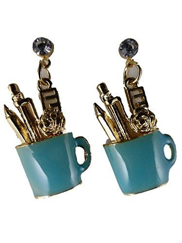 Ohrringe Ohrstecker Stecker goldfarben / türkis blau Becher mit Stiften Büro Sekretärin Schreibtisch 6729
