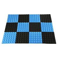 RETYLY アコースティックフォーム、アコースティックフォームパネル、防音フォーム、アコースティックパネル、スタジオフォーム2インチX12インチX12インチ(12パック)ブラック+ブルー