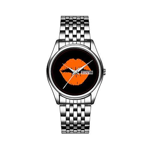 Heren luxueus horloge 30 m waterdicht datum herenhorloge sporthorloges heren polshorloge kwarts casual geschenk zwart en licht oranje lippenstift kus polshorloges