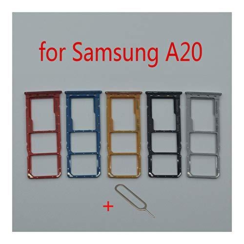 Durabilidad Sostenedor de la ranura de la bandeja de tarjeta SIM For Samsung Galaxy A20 A205 A205F A205FN A205G A205GN Teléfono de reparación original adaptador de tarjeta SD Micro Parte durable
