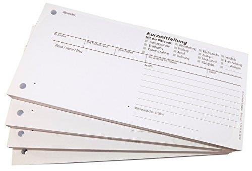 4x Block Kurzmitteilung - 100 Blatt, 10 x 21cm, gelocht -Qualitäts-Offset-Papier 80g/m² (22611)