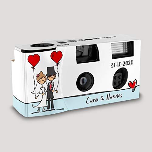 Hochzeitskamera Einwegkamera Couple - Balloons mit Personalisierung, ISO 400, 27 Aufnahmen, Blitz
