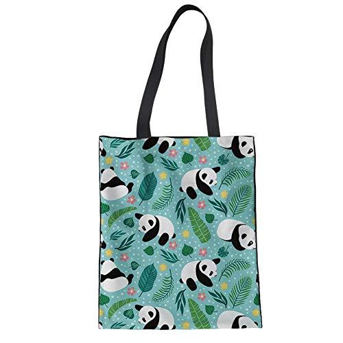 FANCOSAN Women's Linen Tote Bag Kawaii Panda Puzzle Eco-friendly Magazine Recyclable Top Handle Purse
