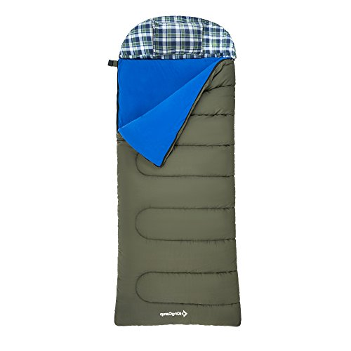 KingCamp Oversize 3-in-1 Adult All Season Sleeping Bag with Removable Cotton Flannel Liner and Pillow, Lightweight for Warm & Cold Weather