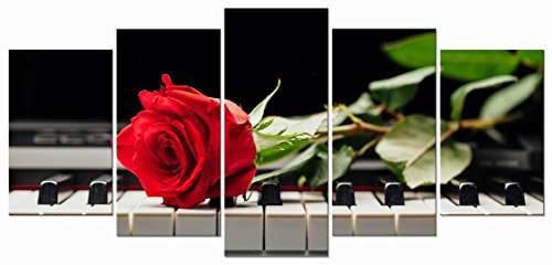 Wieco Art Red Rose on Piano Modern 5 Panels Stretched and Framed Floral Giclee Canvas Prints Artwork Flowers Music Pictures Paintings on Canvas Wall Art for Bedroom Kitchen Home Decorations