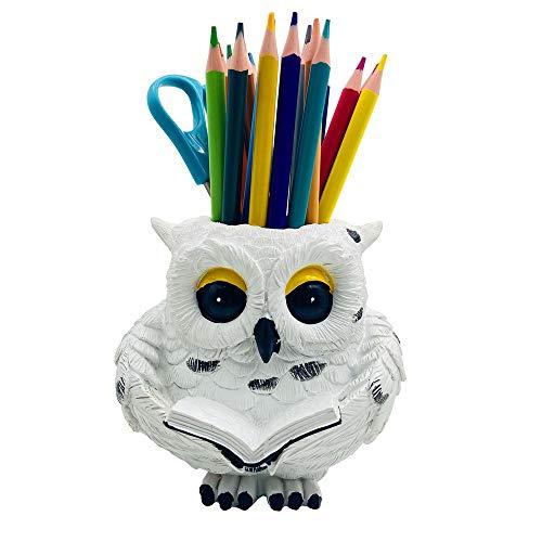 Onlycee Snowy Owl Figurine Pen Holder, Owl Statue Pen Pencil Holder Makeup Brush Container Pot Desk Organizer Home Office Decoration Desktop Decor