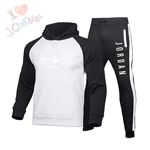 DRBY Jordania # 23 - Conjunto completo de chándal y sudadera para hombre, diseño de toros, sudadera con capucha, manga larga y pantalones deportivos, color blanco, talla A-XXL