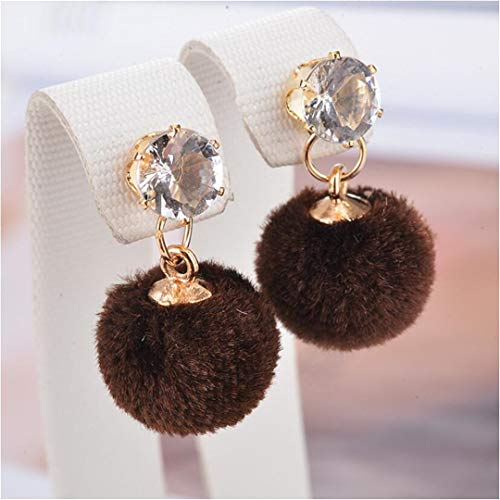 SCVBH Jewelry 5 Colors Zircon Plush Ball Ice Snow Christmas Statement Dangle Earrings For Women Aretes Brincos Brown