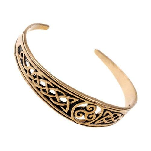 Keltischer Armreif mit durchbrochen gearbeitetem keltischen Knoten und Triskele Farbe Bronze