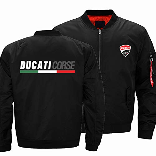 YXACETX Chaquetas para Hombre para Ducati Lightweight Casual Zip Up Outdoor Bomber Chaqueta Outwear Abrigos Abrigos Cortavientos Top Track Jacket Sudadera Regalo Black-X-Large
