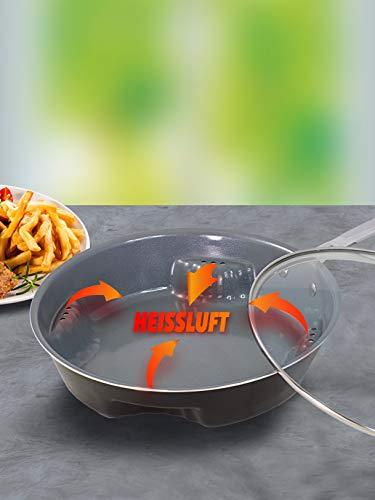 Unisex Titan-Keramik-Pfanne 'CERAFLON AIRFRY PAN' mit Glasdecke, Ø 28 cm Backofengeeignet HSP Hanseshopping