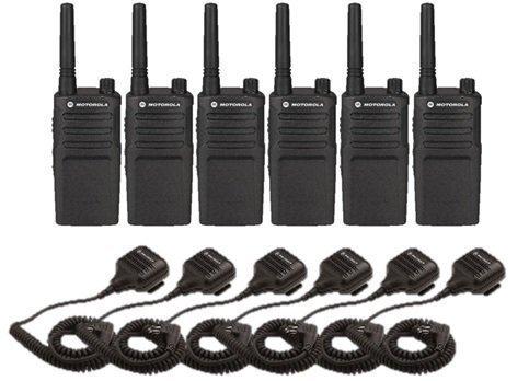 Motorola RMU2040 Radios mit Lautsprecher-Mikrofon, 6 Stück