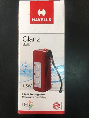 Havells Glanz 1.5-Watt Rechargeable Solar Light (Red)