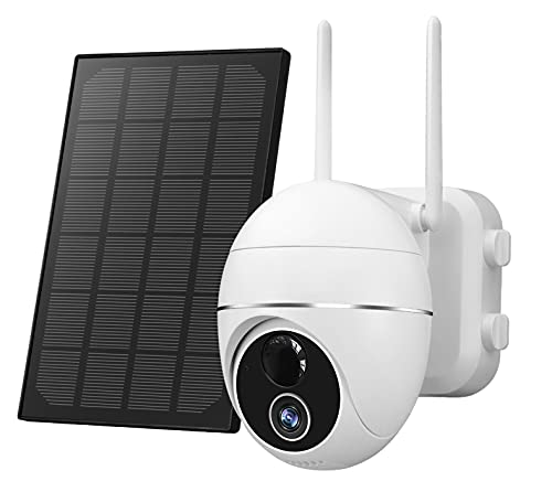 Outdoor Security Camera-Wireless PTZ Solar Panel 15000mAh Rechargeable Battery Power WiFi Security System,2-Way Audio, PIR Motion Detection ,IP65 Waterproof