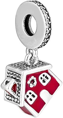LGUC Pulseras de los Hombres Acogedora casa de Navidad cuelga Esmalte Rojo 925 Plata DIY se Adapta a Pulseras Pandora Originales joyería de Moda