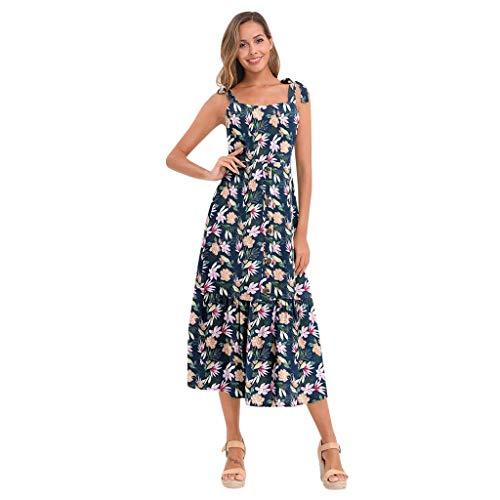 acction Vestido Casual de Playa para Mujer con Botones Vestido Mini Sin Mangas Estampado de Verano 2020 Mujeres Elegante Bohemio Correa de Hombro Ajustable Vestido de Fiesta de Playa