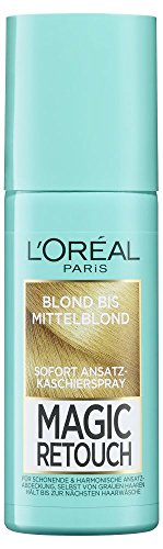 L'Oréal Paris Ansatz-Kaschierspray ohne Ammoniak, Auswaschbare Haarfarbe, Magic Retouch Ansatzspray, Blond bis Mittelblond, 1 x 75 ml