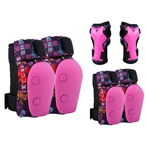 Juego de almohadillas de skate para niños, rodilleras, coderas, muñecas, 6 piezas, almohadillas ajustables para monopatín, kit de equipo de protección para patinaje en bicicleta (rosa, tamaño: M)