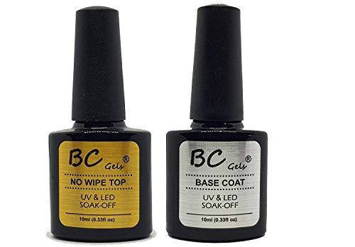 BC Gels Soak Off UV Gel Nail Polish - (10ml, No Wipe Top Coat + Base Coat)