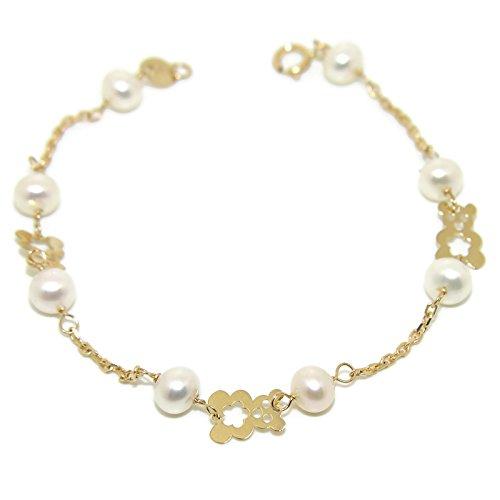Never Say Never Pulsera Oro Amarillo de 18Kts para niña con 8 Perlas cultivadas de 5mm. 17cm