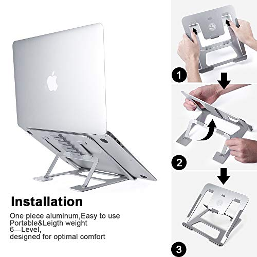 Ming Haidi Laptop Stand,Update Version 6-Level Adjustable Laptop Stand Aluminum Ventilated Laptop Holder,Portable & Foldable Laptop Stand,Laptop Holder Compatible with 7 inch to 15 inch Laptop Photo #4