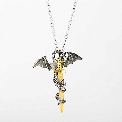 Uteruik Collar de espada de dragón que brilla en la oscuridad con colgante luminoso, joyería punk para hombre