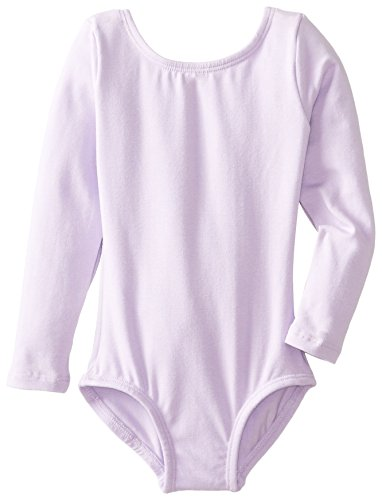 Clementine Girls' Big (7-16) Crew Neck Long Sleeve Leotard One Piece Tops Bodysuit Dancewear Costumes, Lilac, 8/10