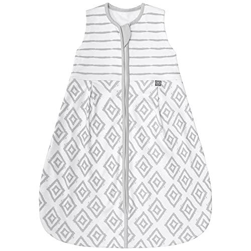 Premium Baby Schlafsack Sommer, Bequem & Atmungsaktiv, 100% Bio-Baumwolle, OEKO-TEX Zertifiziert, Flauschig Weich, Bewegungsfreiheit, 1.0 TOG von emma & noah (Rauten Grau, 110 cm)