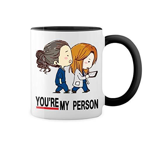 Greys Anatomy You Are My Person Bianco tazza di caffè con Nero Rim & Handle