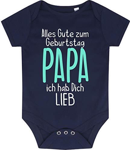 Kleckerliese Baby Body Vintage Kurzarm Sprüche Jungen Mädchen Motiv Alles Gute Papa ich hab Dich Lieb, Navy, 0-3 Monate