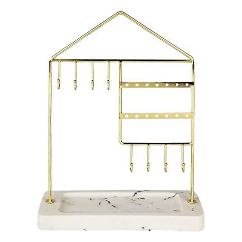 YAOLUU Cajas para Joyas Joyero Soporte de joyería Superior de Mesa Collar de Metal de Oro Pendiente de Pendiente Soporte con Base de mármol Artificial Organizador Colgante Organizador de Joyas