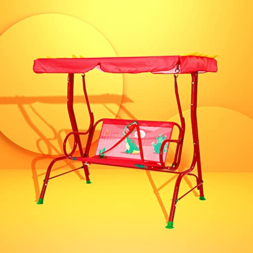 Bluu Kids Porch Swing Chair Patio Glider for Kids Outdoor Use with 2-seat, Safety Seat Belt & Infinite Tilt Canopy (Red Dinosaur)