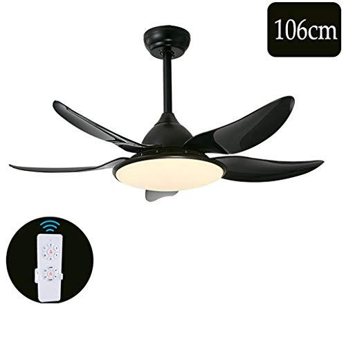 GXT Ventilador de techo luz hogar restaurante sala de estar conversión de frecuencia silencioso ventilador araña (106/130 cm) velocidad ajustable suave (color: negro-106 cm)