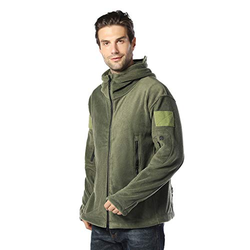 Purchase Men's Autumn Casual Daily Solid Color Full Zipper Outdoor Winter Warm Hooded Coat Army Gree...