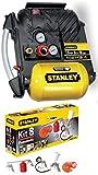 Compressore aria Stanley Airboss DN200/10/5 5 lt 1,5 HP + Kit 8 accessori