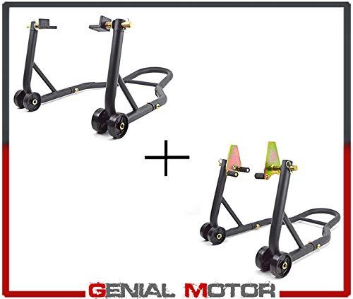 Coppia Cavalletti alza moto regolabili anteriore + posteriore con supporti in gomma 400 kg regolabili Professionali