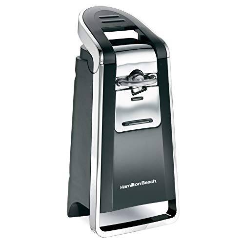 Hamilton Beach (76606ZA) Smooth Touch Electric Automatic Can Opener with Easy Push Down Lever, Opens All Standard-Size and Pop-Top Cans,Extra Tall, Black and Chrome