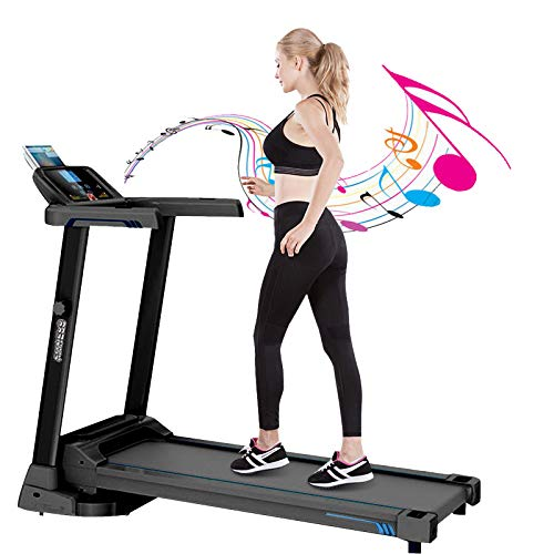 Folding 3 Manual Incline 500LB Weight-Capacity Smart Treadmill, Easy Assembly Electric Motorized Running Machine for Home Use with LCD Screen/Magnetic Float Safety Lock (Black-2.0HP)