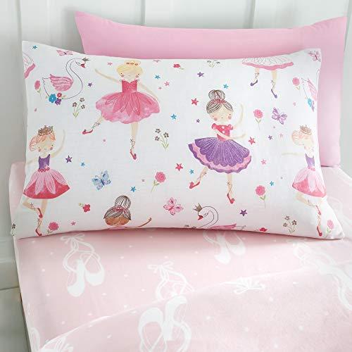 Happy Linen Company Mädchen Einzelbett-Spannbettlaken - Ballerina-Motive - Rosa