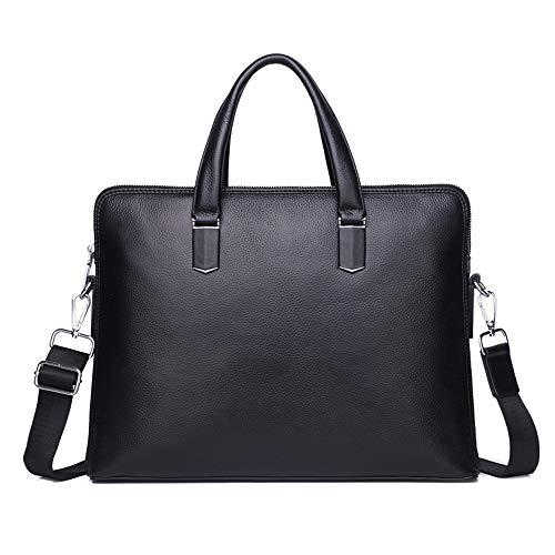 GXHGRASS, leren handtas voor heren, laptoptas van leer, vintage, voor reizen en werken, zwart