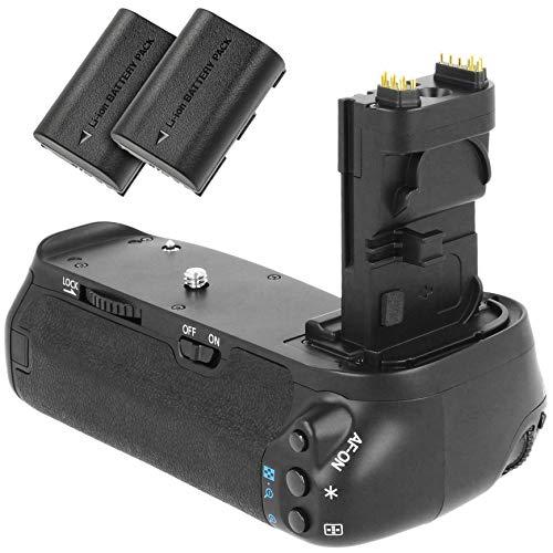 Meike Batteriegriff kompatibel mit Canon EOS 90D, 80D und 70D - Ersatz für BG-E14 - für 2X LP-E6 und 6 AA Batterien + 2X LP-E6 Nachbau-Akkus