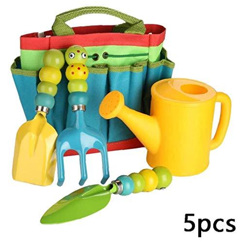 Newin Star Enfants Jardinage Set 5PCES Jardinerie Jardinage Sac à Outils Set Mini Jardin Jouets Cadeaux pour Tout-Petits Enfants Multicolor-A