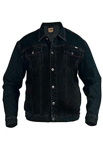 Grand King Size Neuf Pour Hommes Duke Jeans Veste Camionneur Occidental Délavé Foncé Jeans Manteau - Cotton, Noir, 90% coton 10% viscose, Homme, 4XL