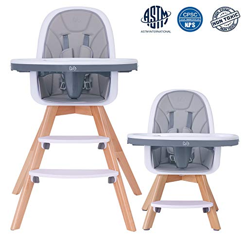 %6 OFF! HAN-MM Baby High Chair with Removable Gray Tray, Wooden High Chair, Adjustable Legs, Harness...