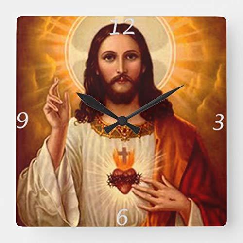AWJ Wanduhr Holz Wanduhr 15x15 Zoll Schöne religiöse Heilige Herz Jesu Bild Quadratische Wanduhr Home Decor