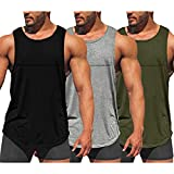 COOFANDY Pack de 3 camisetas de entrenamiento para hombre, secado rápido, para gimnasio, culturismo, fitness, sin mangas, negro, gris, verde militar, L